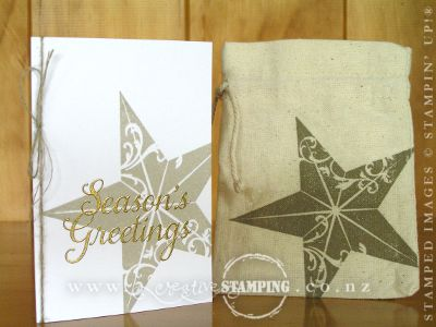 Christmas Star Note Card and Muslin Gift Bag