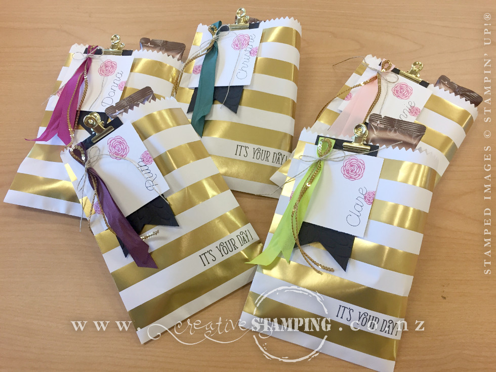 Guest Gifts - Striped Treat Bags, stamped with the Happy Birthday Gorgeous stamp set