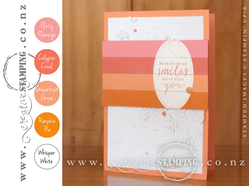 Detailed With Love Smile Friendship Card | Flirty Flamingo, Calypso Coral, Grapefruit Grove, Pumpkin Pie, Whisper White