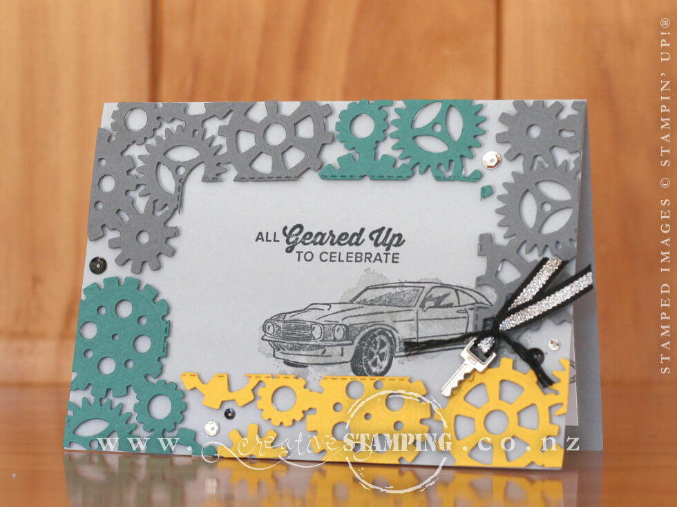 Geared Up Garage Floating Frame Masculine Birthday Card