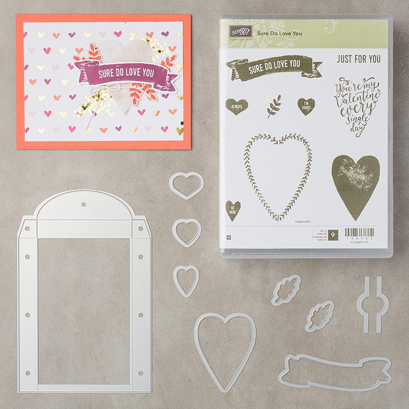 Sure Do Love You Stamp Set + Lots of Love Box Framelits Dies Bundle