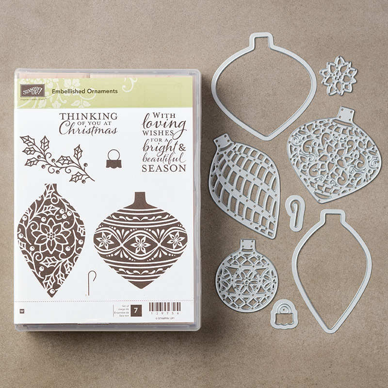 Embellished Ornaments Clear-Mount Stamp Set + Delicate Ornaments Thinlits Dies Bundle