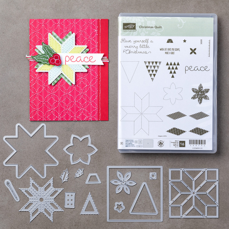 Christmas Quilt Photopolymer Stamp Set + Quilt Builder Framelits Dies Bundle