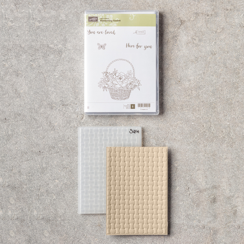 Blossoming Basket Stamp Set + Basket Weave 3D Dynamic Textured Impresssions Embossing Folder