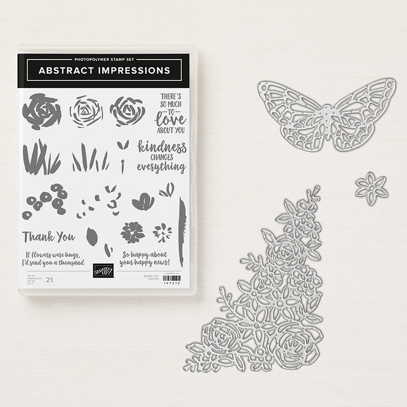 Abstract Impressions Stamp Set + Springtime Impressions Thinlits Dies Bundle