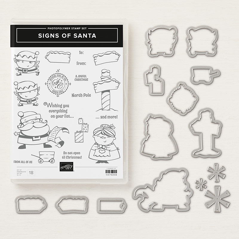 Signs of Santa Stamp Set + Santa's Signpost Framelits Dies Bundle