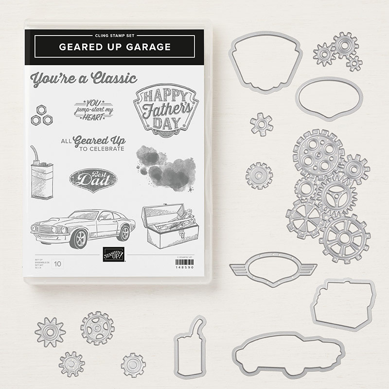 Geared Up Garage Cling Stamp Set + Garage Gears Thinlits Dies Bundle