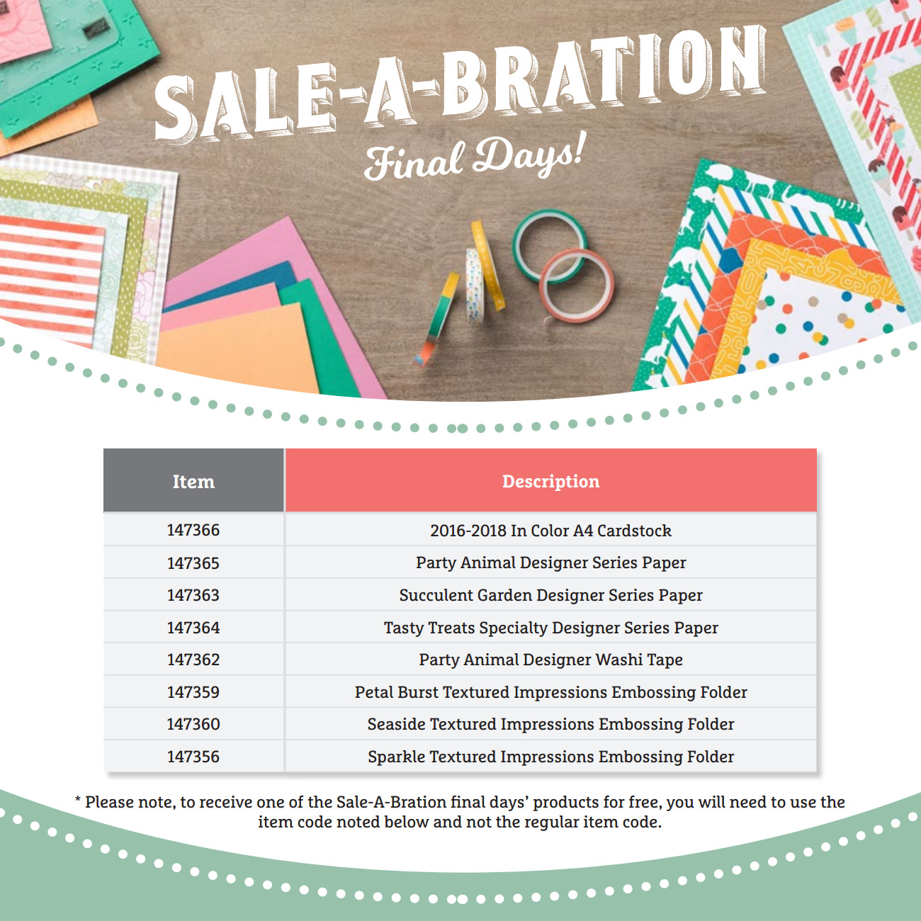 Sale-A-Bration Final Days, Even More Products! | Stampin' Up!'s Biggest Sales Event - click to view PDF